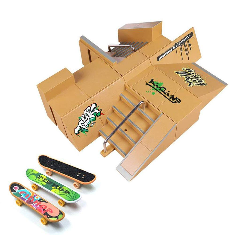 Skate Park Kit, Hometall 8PCS Skate Park Kit Ramp Parts for Finger Skateboard Ultimate Parks Training Props (8PCS) by Hometall