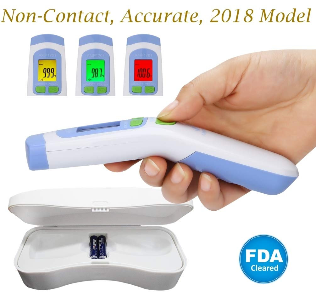 Amplim FDA Approved Medical Hospital Grade Non Contact Infrared Forehead Thermometer + Case. Baby/Kids/Infant/Toddler/Child/Adult/Professional/Clinical Best Digital No Touch Fever Thermometer
