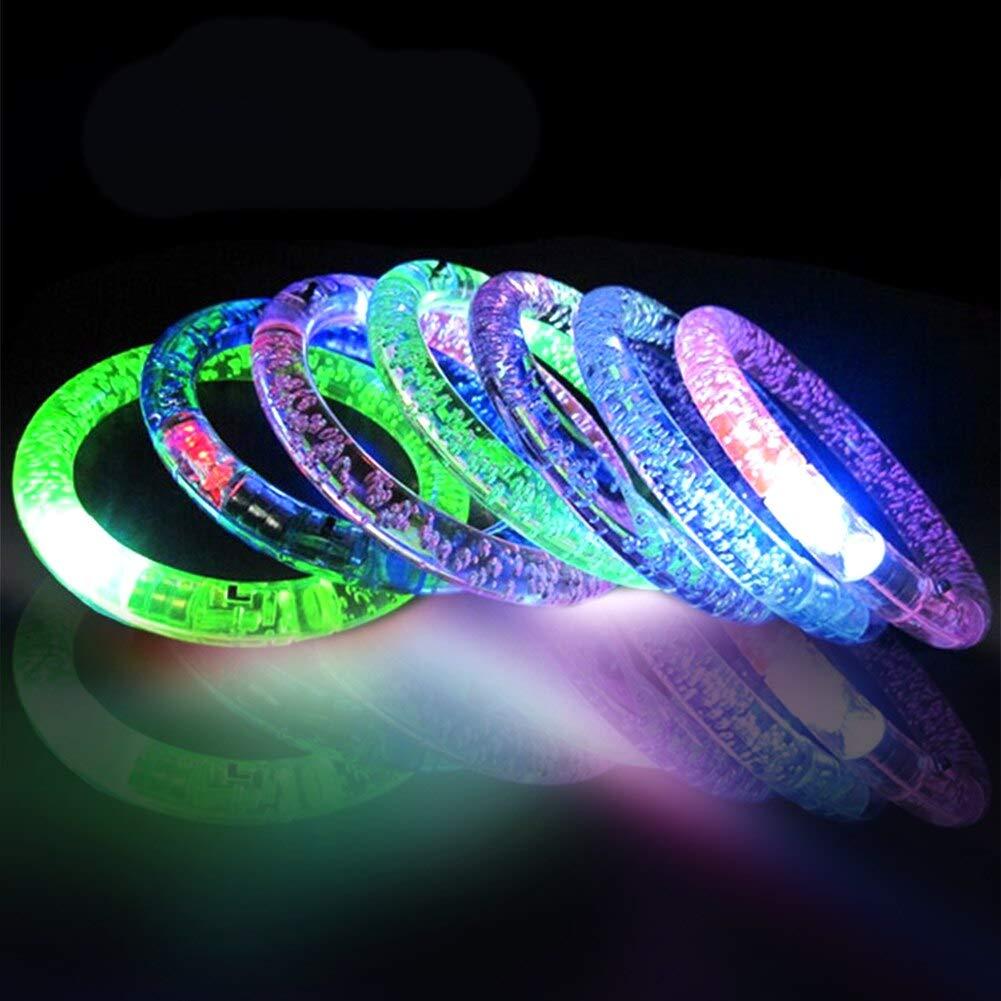 Aquatx Light Up Bracelets 12pcs/Set Party Kids Toy Colorful LED Bangle Glow Wristband Festival Flashing Easy Wear Bubble Gift Round Light Up Bracelet by Aquatx