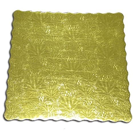Enjay Square Gold Embossed Scalloped Pressboard Bakery Cake Board 8 Inch x 8 Inch Pack of 5