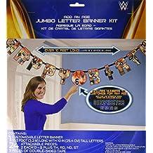 "Amscan Grand Slammin' WWE Happy Birthday Add-an-Age Customizable Jumbo Letter Banner Decoration (1 Piece), 10 1/2' x 10"", Multicolor"