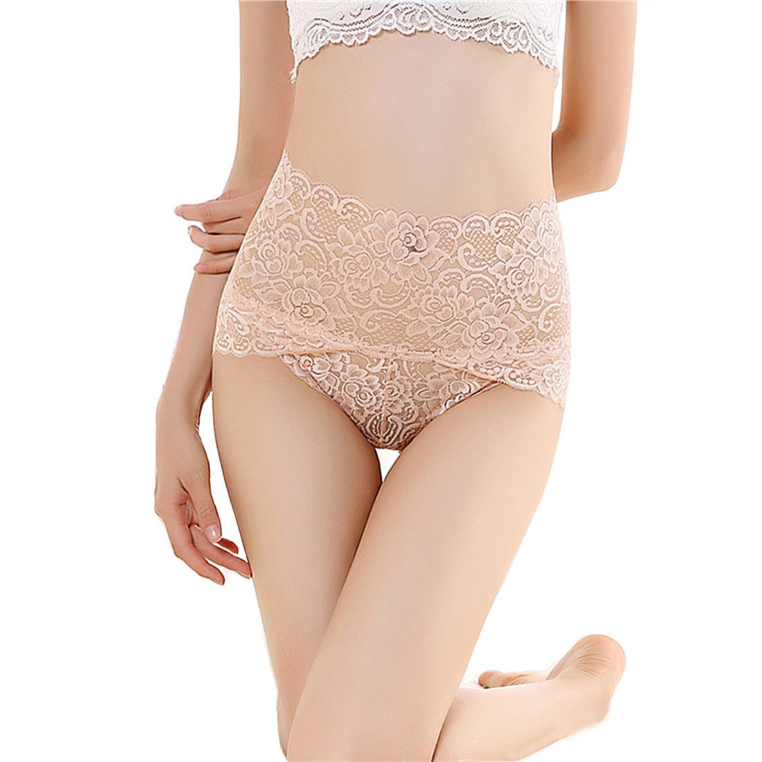 e33945e1a Amazon.com  cool nik Women s High Waist Lace Panties Comfortable Underwear  with High Elastic  Clothing