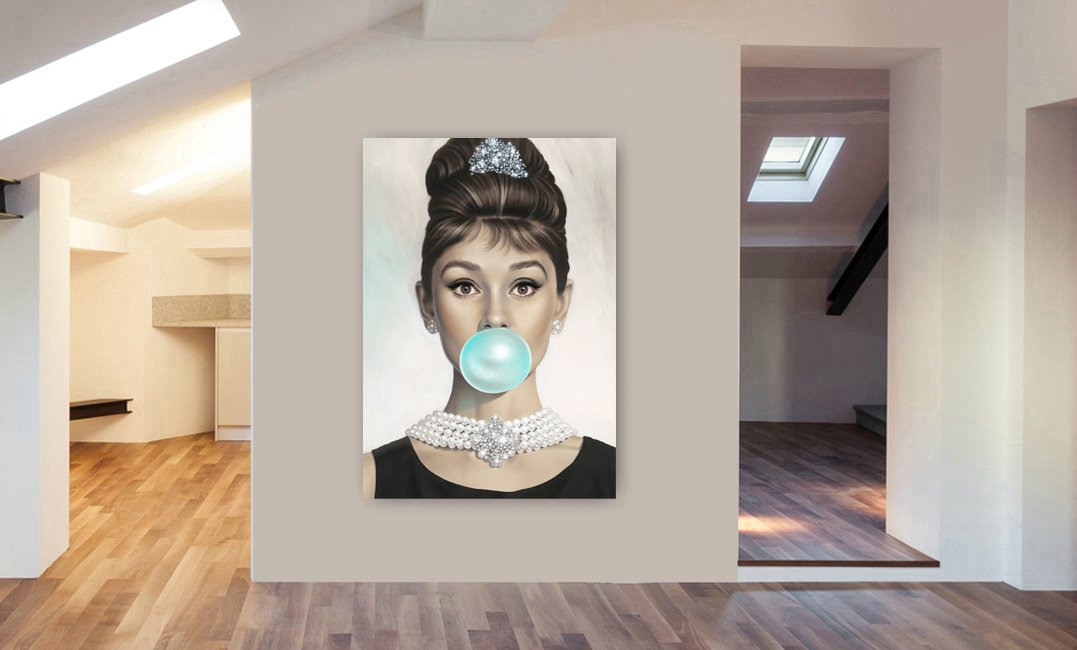 AUDREY HEPBURN Bubble Gum CANVAS WALL ART PRINT VARIOUS SIZES A0 47x33