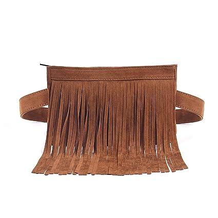 9e37b08bdf Amazon.com | Fashion Brown Velvet Fringe Tassel Waist Fanny Pack Belt Bag  Travel Purse for women | Waist Packs