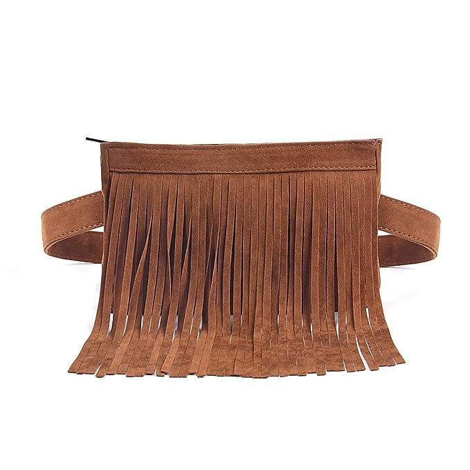 e3ec3fcefcf5 Fashion Brown Velvet Fringe Tassel Waist Fanny Pack Belt Bag Travel ...