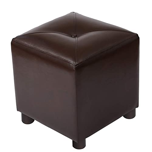 Adeco Square Ottoman Tufted Leatherette, Bench Footstool with Wood Legs, Height 15 Inch