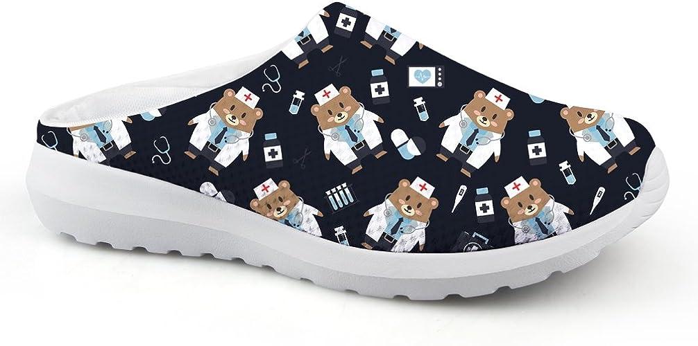 Instantarts Girl Canvas Slip On Shoes Cartoon Bear Summer Beach Walking Shoe Fashion Ballet Flat US5.5