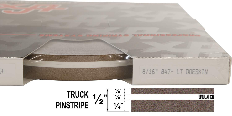 "Universal TFX 0008015 - 015-Cardinal Red 8//16 x 150 1//4/"" Stripe, 1//8 Gap, then 1//8/"" Stripe Auto Truck Customizing Dual Pinstripe"