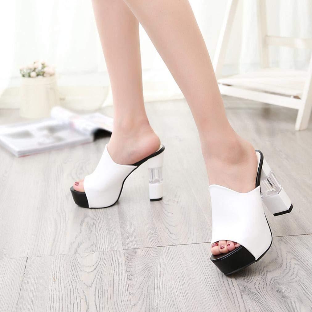 Qiusa Sommer-Keil-Sandelholze für für für Frauen-Damen Bequeme verschönerte Süßigkeit-Farben-hohe Block-Fersen Peep Toe gepolsterte Schuhe Größe 2-7 (Farbe   Weiß Größe   2 UK) 1f9c4a