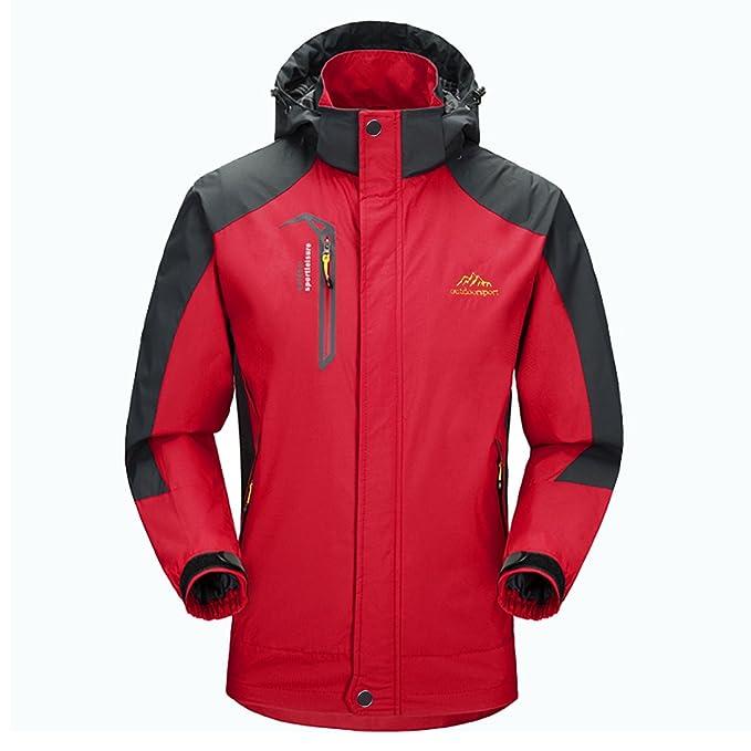 Impermeable chaqueta hombres Sportswear-GIVBRO 2017 nuevo diseño al aire libre con capucha chaquetas Softshell (rojo, M): Amazon.es: Deportes y aire libre