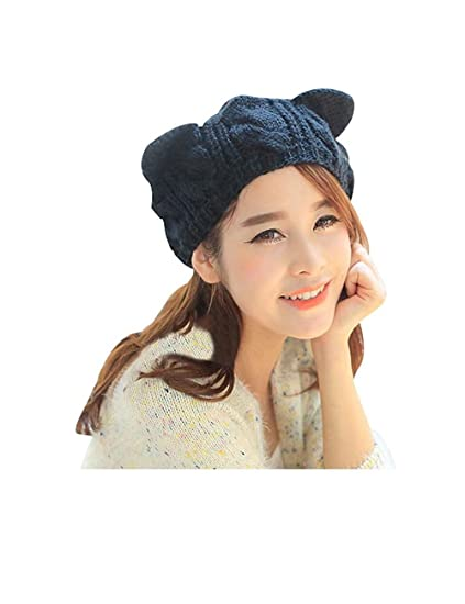 69d121333ed98 Image Unavailable. Image not available for. Color  Zgllywr Women s Hat Cat  Ear Crochet Braided Knit Caps