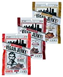 Louisville Vegan Jerky - 3 Flavor Variety Pack, Vegetarian & Vegan Friendly Jerky, Non-GMO Soy Protein, Gluten-Free Ingredients (Smoked Black Pepper, Maple Bacon & Smokey Carolina BBQ, 3 oz)