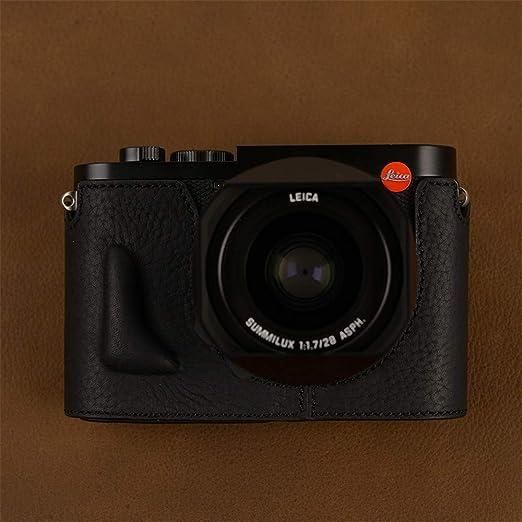 XJPB Estuche de Cuero para cámara, Bolso de cámara de Cuero Hecho a Mano Estuche de cámara Estuche de Cuero Funda Protectora Base de Mango Medio Juego para Leica Q/QP/Leica Q2,Negro,Q2: Amazon.es: