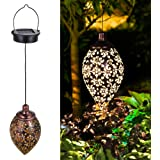 Farol Solar Exterior Jardin,Tomshine Lámpara Solar Decorativa Colgante,Linterna Solar LED de Metal para Patio al Aire…