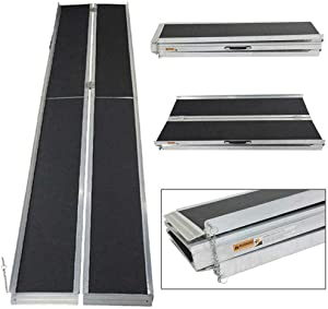TRIBLE SIX 10 ft Portable Wheelchair with Sandpaper Slip Resistant Surface Ramp Multifold Collapsible, Aluminum
