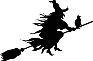Newclew Wicked Witch Flying with Cat Halloween Beautiful Decal Notebook Car Laptop Art Vinyl Bumper Sticker Decal
