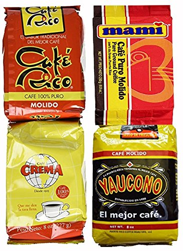 Puerto Rican Variety Pack Ground Coffee - 4 Local Favorites in 8 Oz Bags V.4 (2 lbs Total)