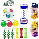 16 Pack Bundle Sensory Toys Set-Bike Chain/Liquid Motion Timer/Rainbow Magic Sensory Ball and Squeeze Toys Value Assortment