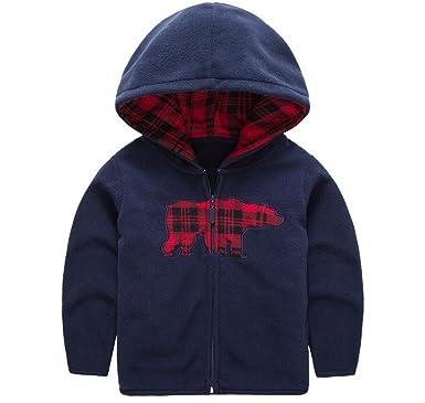 25bdb6beb Amazon.com  HUAER  Baby Boys  Fleece Cartoon Animal Zip Front Jacket ...