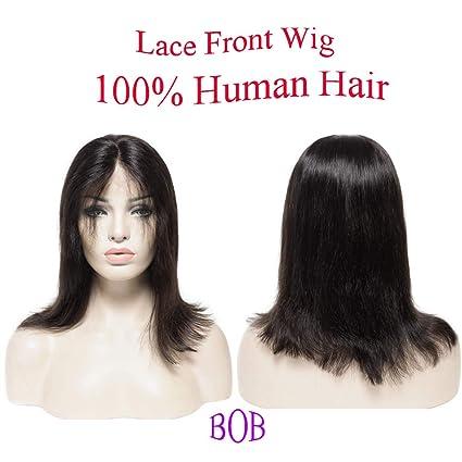 "8""(20cm) Peluca Bob Pelucas Mujer Pelo Natural con Lace Front 100%"