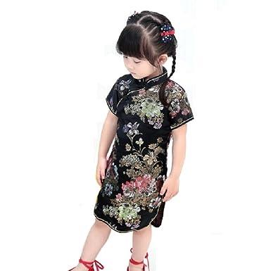 3b9e6abea5 Hooyi Floral Baby Qipao Girl Dress Chi-Pao Cheongsam Kids Dresses (Black  Peony