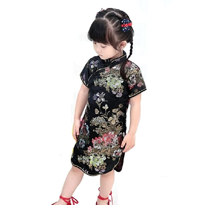 7d59e3afeb5e Amazon.com: Hooyi Baby Girl Qipao Short Sleeve Dress Chinese Tradition  Cheongsam: Clothing