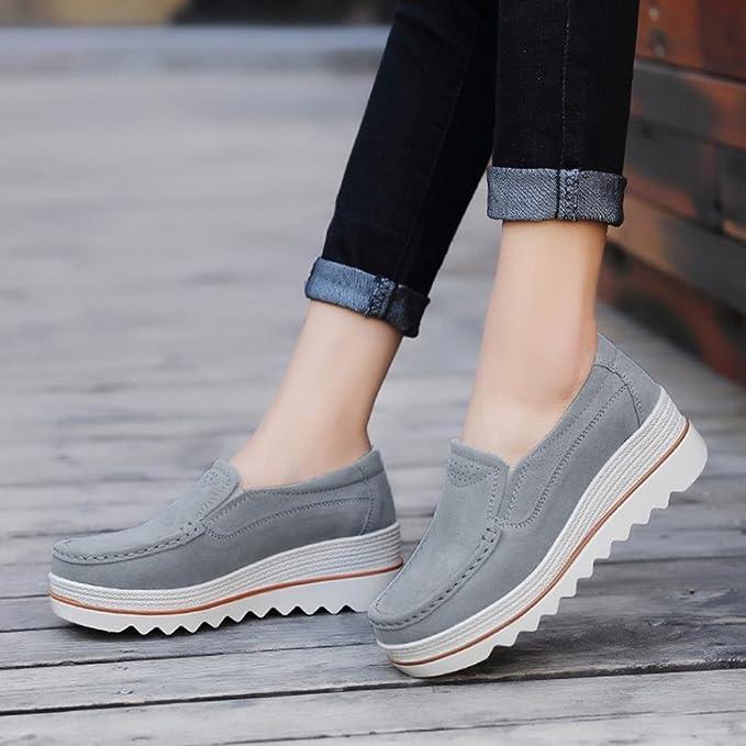 Zapatos Planos Muffin Mujer Sneakers Cuero Zapatos Casuales Creepers Mocasines ❤ Manadlian: Amazon.es: Deportes y aire libre