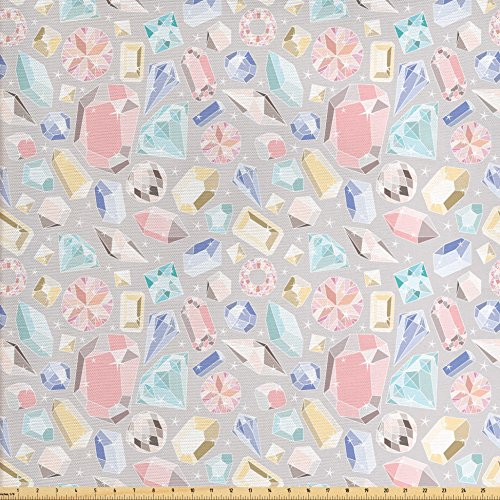Baguette Accents (Ambesonne Diamonds Fabric by The Yard, Pastel Color Baguette Square and Oval Shapes Feminine Design Star Filled Backdrop, Decorative Fabric for Upholstery and Home Accents, Multicolor)