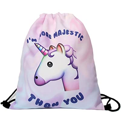 Cieovo Pink Unicorn Pattern Drawstring Backpack Bag For Girls Small Gym Bags