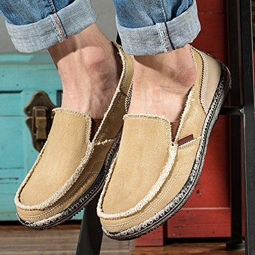 on Casual Demon Shoes Footwear Shoes Khaki Canvas Men's Leisure Loafers Cloth Centipede Slip Z4wdE0nqw