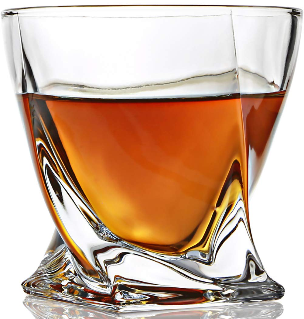 ELIDOMC Twist Whiskey Glasses Set Of 4, 10 OZ Crystal Glasses Set for Drinking Bourbon Scotch Cocktail Irish Whisky, 100% Lead Free Old Fashioned Glasses And Cocktail Glasses With Luxury Gift Box.