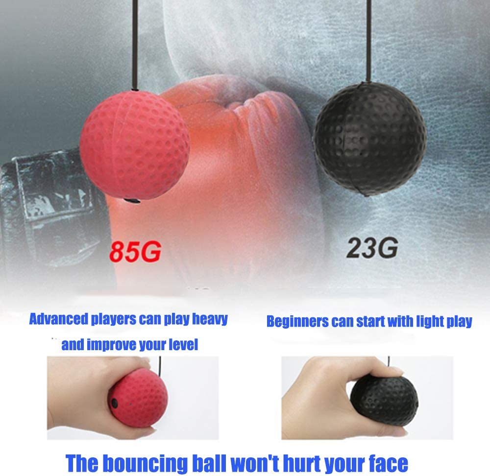 DOUBLEFUN 2 Pack Boxing Reflex Ball Boxing Equipment for Training 2 Difficulty Levels Boxing Balls for Reaction Agility Punching Speed Hand Eye Coordination Training Balls of Boxing MMA