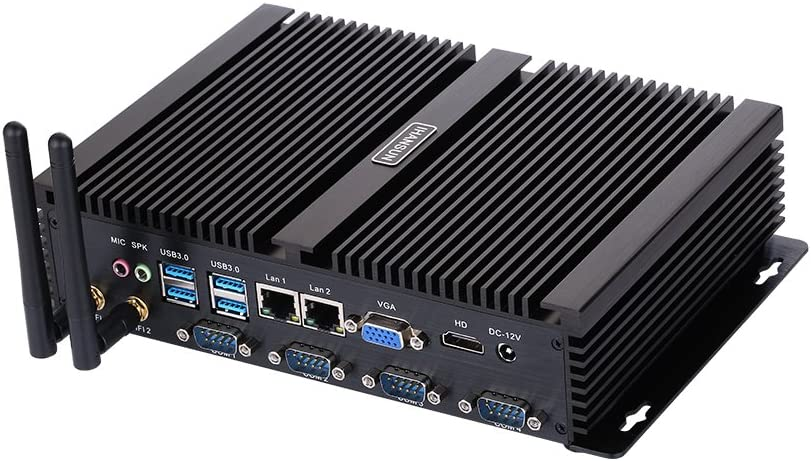 Fanless Industrial PC,Mini Computer,Windows 7/10 Pro/Linux Ubuntu,Intel Celeron 1007U,(Black),[HUNSN IM02],[64Bit/Dual Band WiFi/1VGA/1HDMI/4USB2.0/4USB3.0/2LAN/4COM],(Barebone System)
