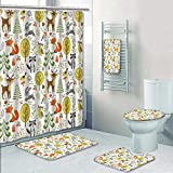 Philip-home 5 Piece Banded Shower Curtain Set Forest Animal Crafts for Kids Decorate The Bath