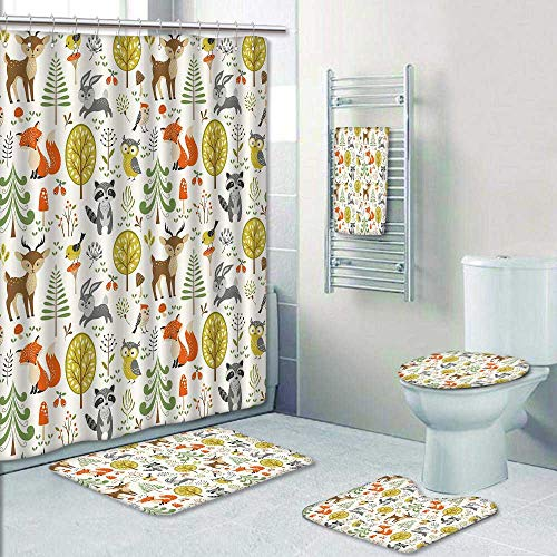 Philip-home 5 Piece Banded Shower Curtain Set Forest Animal Crafts for Kids Decorate The Bath by Philip-home
