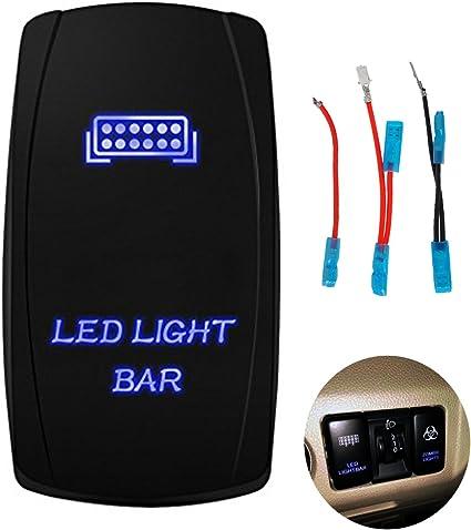 Motor Laser 12V 20A Toggle Rocker Switch BLUE LED HEAD LIGHTS Lighted