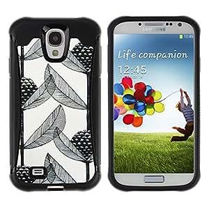 LASTONE PHONE CASE / Suave Silicona Caso Carcasa de Caucho Funda para Samsung Galaxy S4 I9500 / Art Black White Branch
