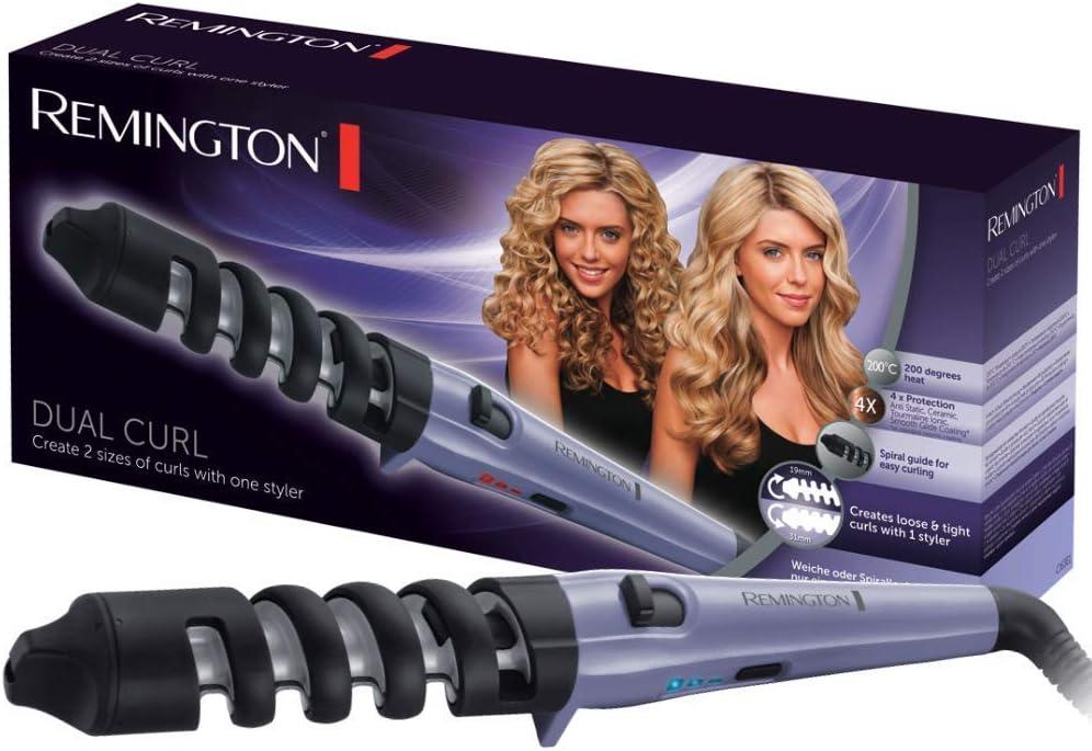 Remington Dual Curl CI63E1 - Rizador de pelo, Pinza de 19 a 31 mm, Cerámica, Hasta 200 ˚C, Morado y Negro: Remington: Amazon.es: Salud y cuidado personal