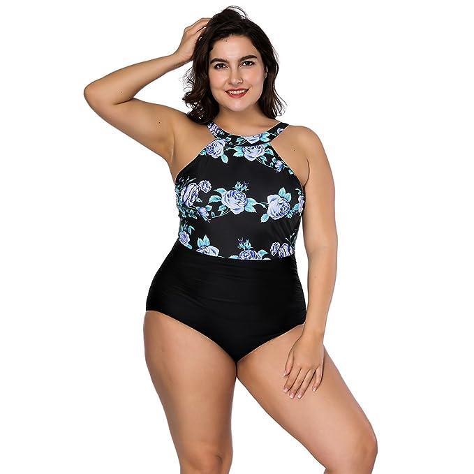 SUNGIFT Mujer Sexy Impresión con Flores Una Pieza Bañador Plus Size: Amazon.es: Ropa y accesorios