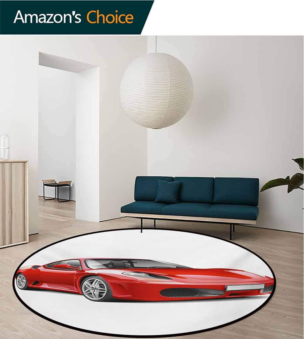 Teen Room Non-Slip Area Rug Pad Round,Fancy Italian Super Car Modern Style New Automobile European Design Protect Floors While Securing Rug Making Vacuuming,Round-31 Inch Red And Charcoal Grey