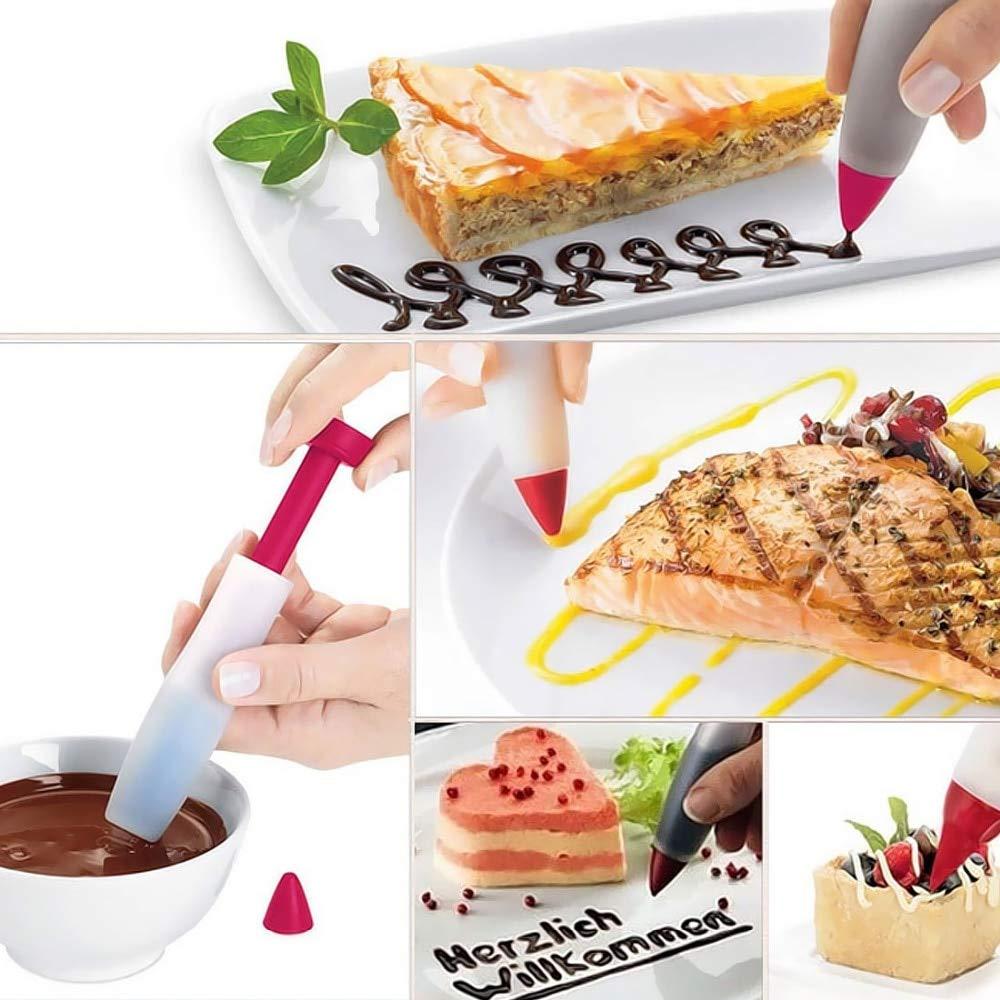 Basico G/âteau de Silicone p/âtisserie Biscuit gla/çage d/écoration seringue cr/ème Plaque de Chocolat Stylo ustensiles de Cuisson
