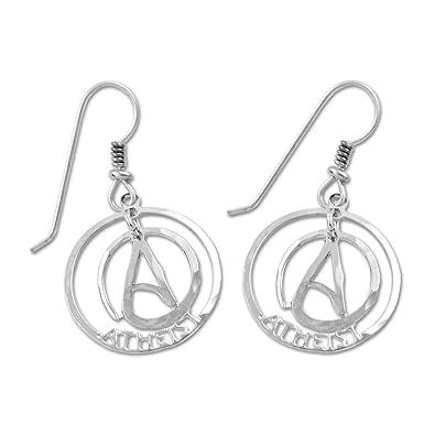 Jewellery Circle Atheist Two Part Gold Earrings Men 3/4 Diameter