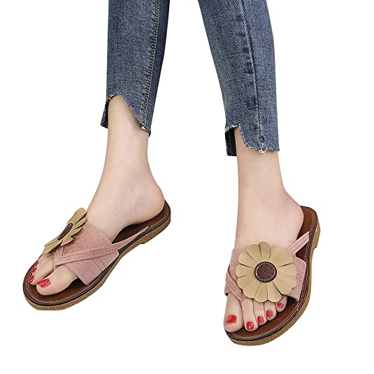 Amazon.com   OrchidAmor Fashion Women Summer Roman Flowers Slippers Round Toe Flat Retro Beach Slippers   Slippers