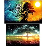SUBANG 2 Packs 5D DIY Diamond Painting Set Decorating Wall Stickers for Living Room,Starry Sky (35X50CM/14X20inch) and Sun & Moon (30X40CM/12X16inch)