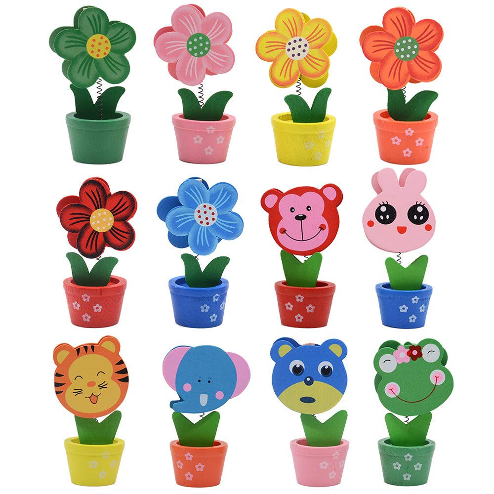 whatUneed Creative Wooden Base Photo Holder - Cartoon Animal Flower Pot Table Name Number Holder Party Decoration Card Holders Picture Memo Note Photo Clip Holder (12 Pack) by whatUneed