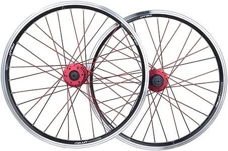 MZPWJD Juego Ruedas Bicicleta Plegable 20 Pulgadas Rueda Bicicleta BMX Llanta Aleación Doble Capa Disco/V-Freno QR 7-10 Velocidad 32H (Color : Black): Amazon.es: Deportes y aire libre