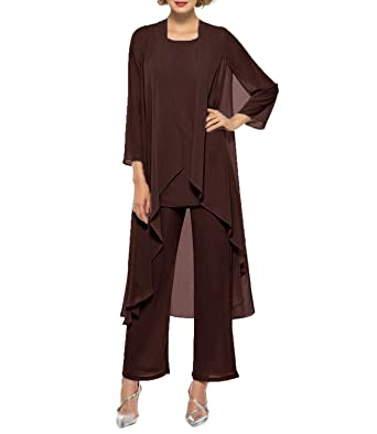 db899811929 2019 Womens Chiffon Pant Suits Mother of The Bride 3 Pieces Long Jacket  Sexy Split Side