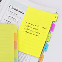 Eagle Divider Sticky Notes 60 Ruled Notes, 4 x 6 Inches, Assorted Neon Colors (1-Pack)