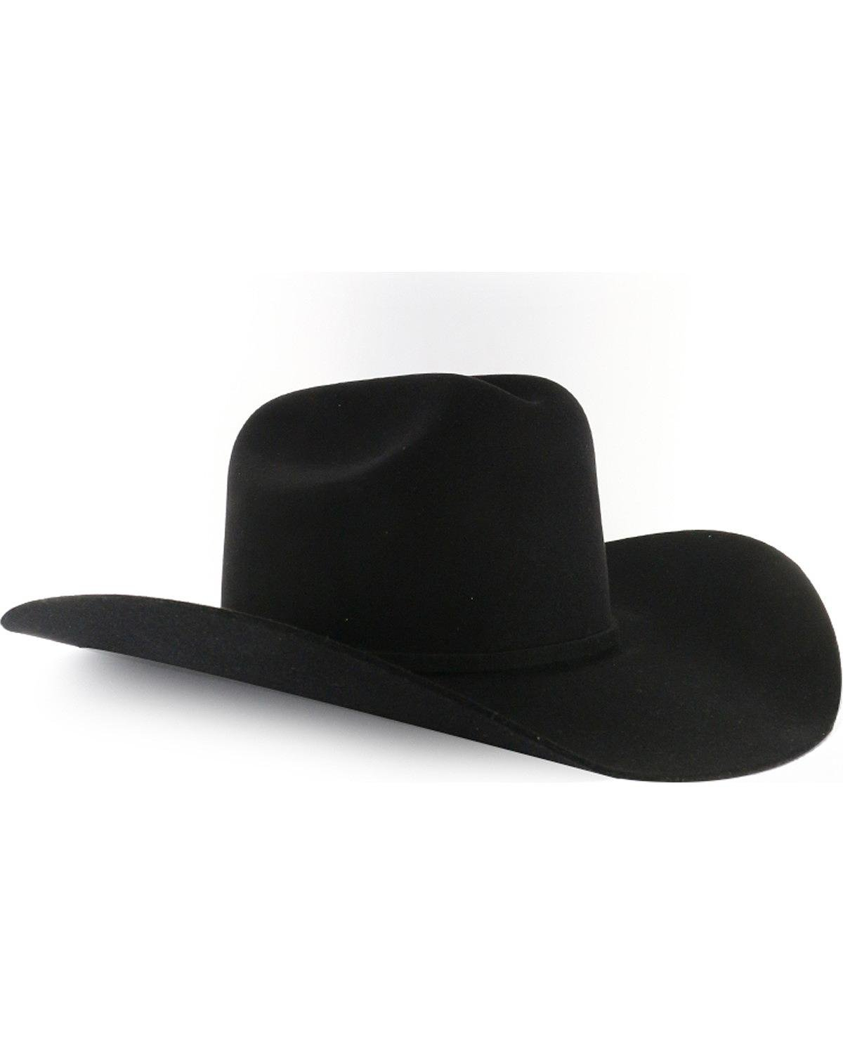Rodeo King Men's Low 7X Felt Cowboy Hat Black 7 3/8