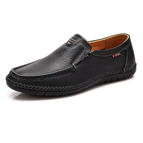 ZX Hombres holgazán de Cuero Genuino, Zapatos de Mocasines con Cordones de Moda Casual de